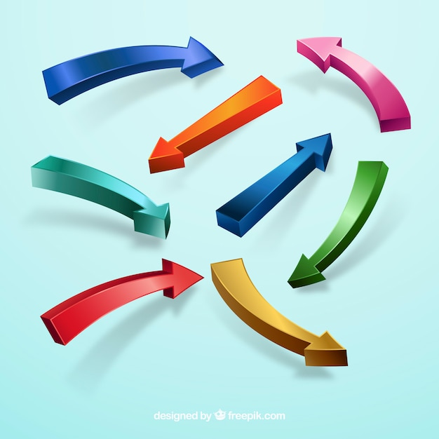 Colorful arrow collection with modern style Free Vector