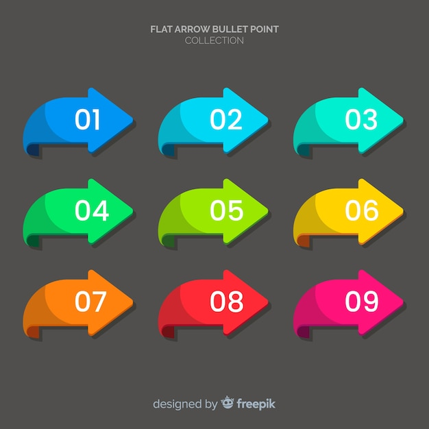 Colorful arrows bullet point collection Free Vector