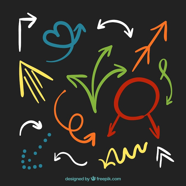 Colorful arrows collection in hand drawn style Free Vector