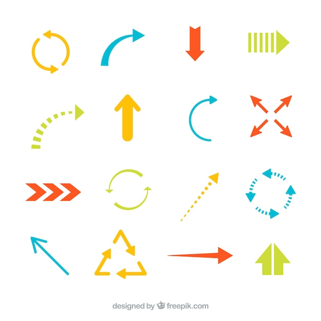 Colorful arrows collection Premium Vector