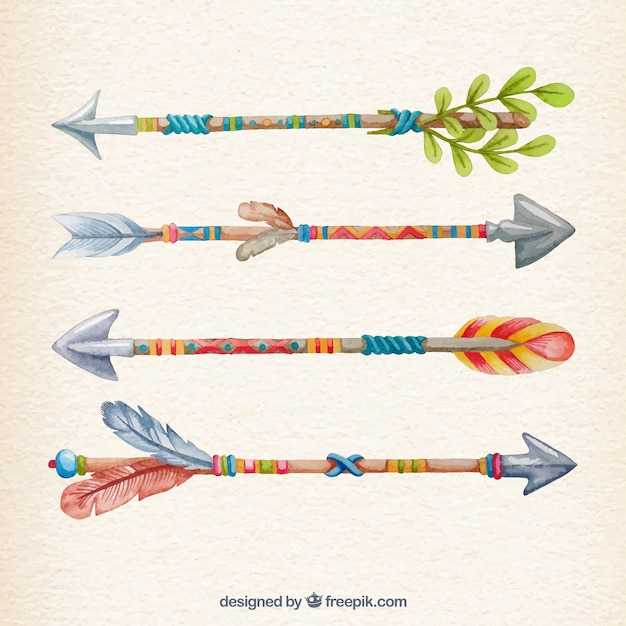 Colorful arrows in hand painted style