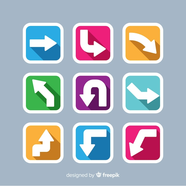 Colorful arrows pack Free Vector