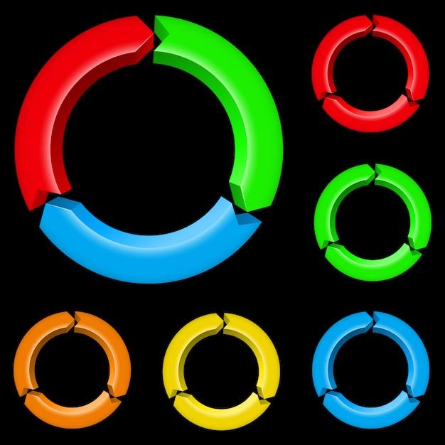 다채로운 화살표 프리미엄 벡터