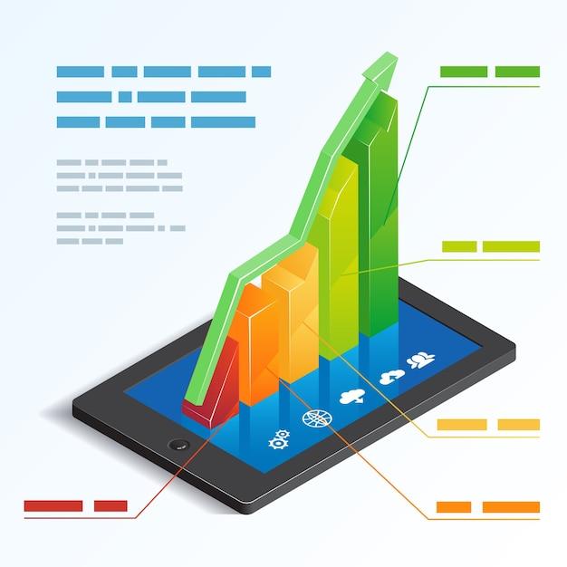 텍스트 상자 템플릿 벡터 일러스트와 함께 모바일 온라인 분석을 묘사하는 태블릿 터치 스크린에 다채로운 오름차순 3d 막대 그래프 무료 벡터
