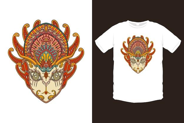 カラフルなアジアのマスク、バリの文化マスクのイラスト Premiumベクター