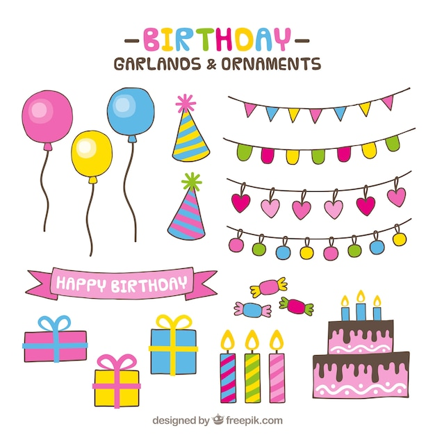 colorful assortment of hand drawn birthday ornaments vector free