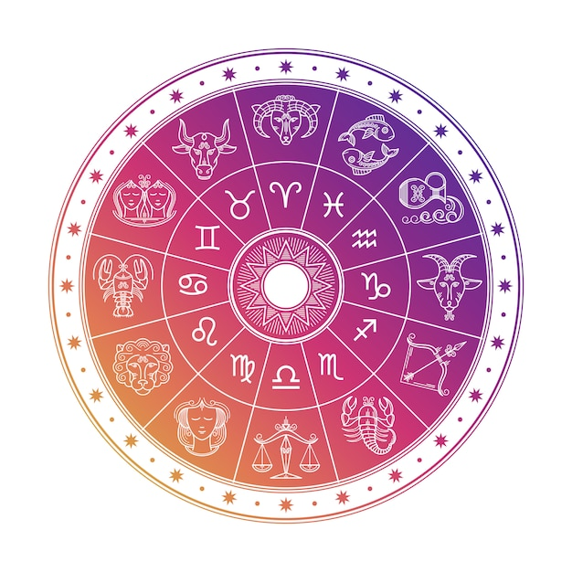 Colorful astrology circle with horoscope signs isolated on white background Premium Vector