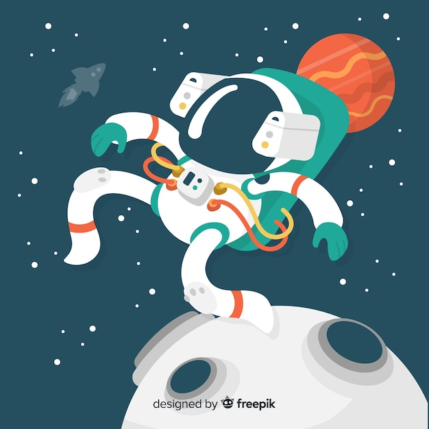 Colorful astronaut composition with flat design Free Vector