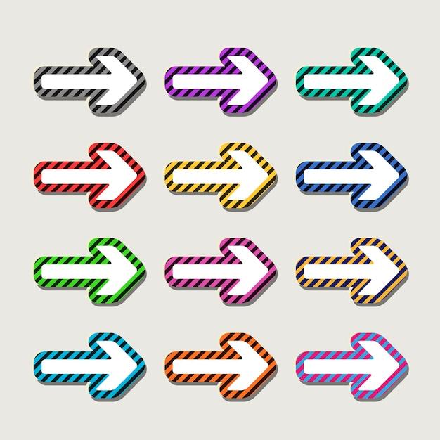 회색 배경에 고립 된 다채로운 매력적인 화살표 설정 프리미엄 벡터