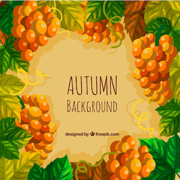 Colorful autumn background with leaves