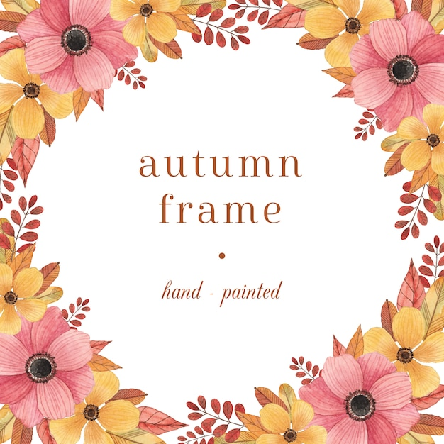 Colorful autumn frame with watercolor flowers and leaves Premium Vector