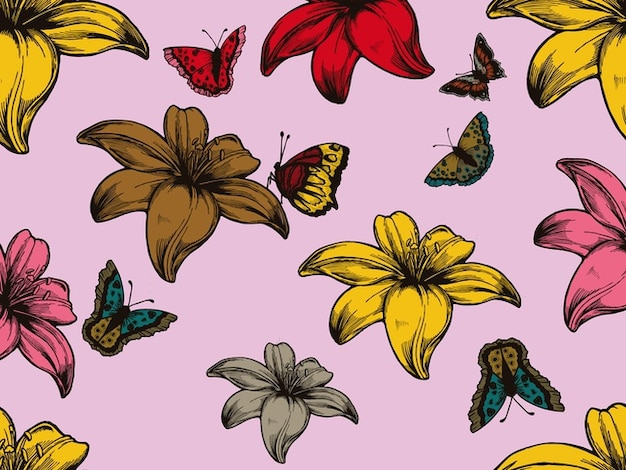 Colorful autumn leaves and butterflies