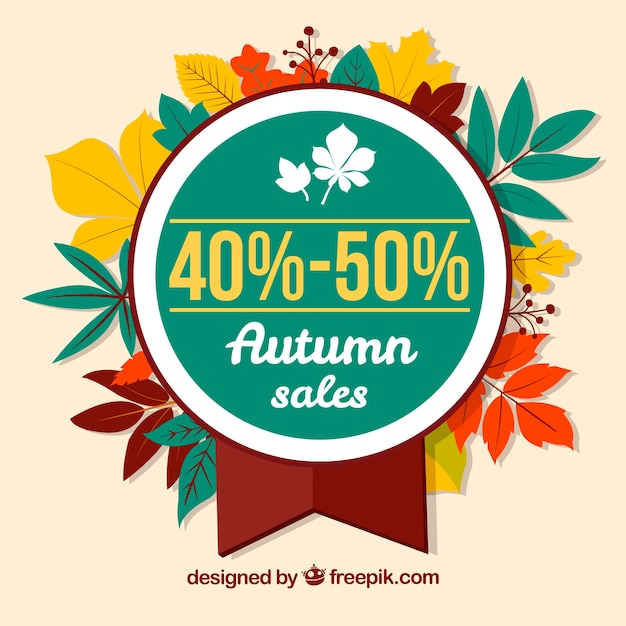 Colorful autumn sale badge with leaves