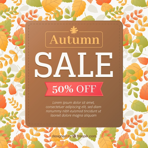 Colorful autumn sale with variety of leaves