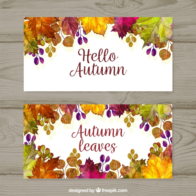 Colorful autumnal banners with watercolor leaves