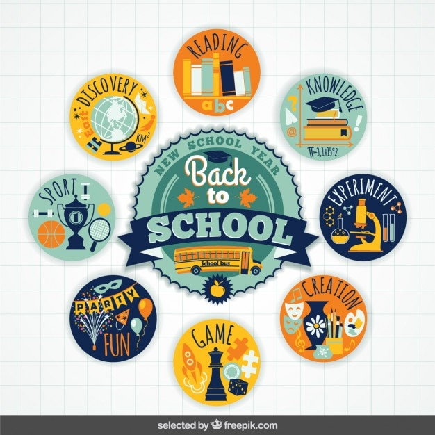 Colorful back to school badges collection Free Vector