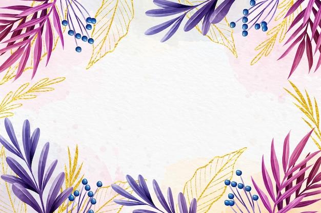 Sfondo colorato design con foglia d'oro Vettore gratuito