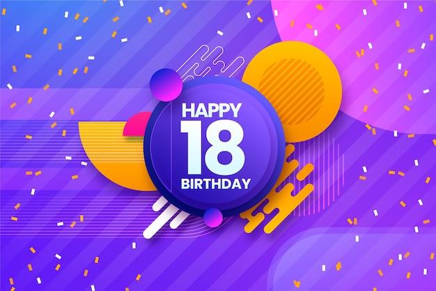 18 번째 생일을위한 화려한 배경 무료 벡터