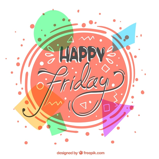 Colorful background of happy friday abstract shapes