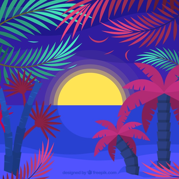 Colorful background of tropical landscape