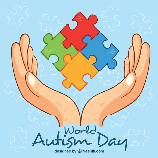 Colorful background of world autism day Free Vector