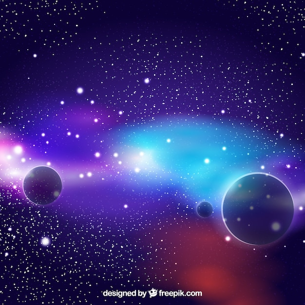 Colorful background of planets Free Vector