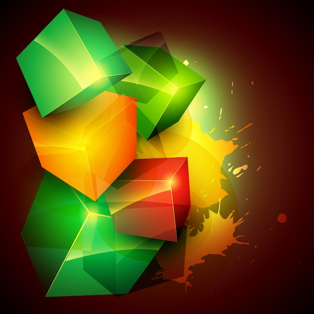 Colorful background with 3d forms