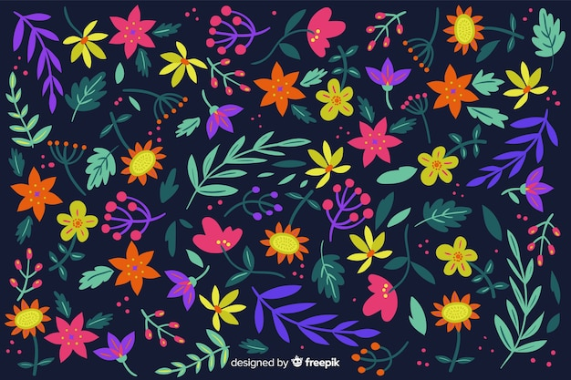 Colorful background with beautiful flowers and floral design Free Vector