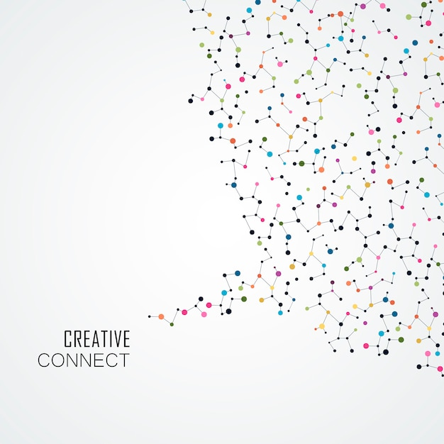 Colorful background with connection dots and lines Premium Vector