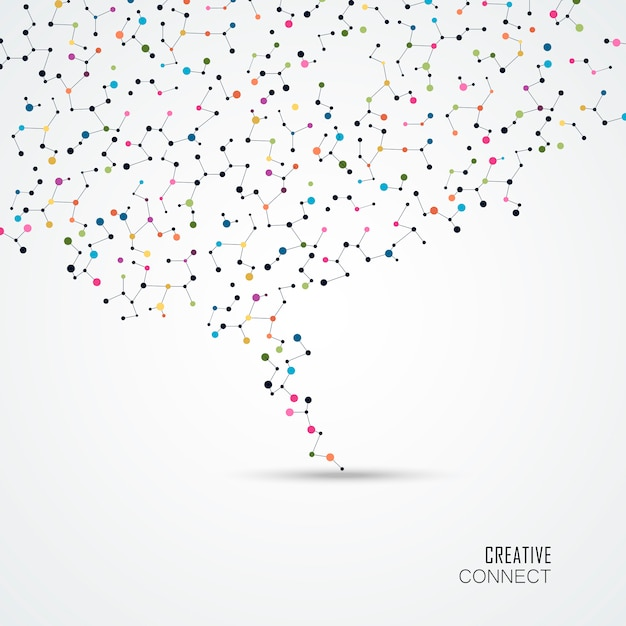 Colorful background with connection dots and lines. Premium Vector