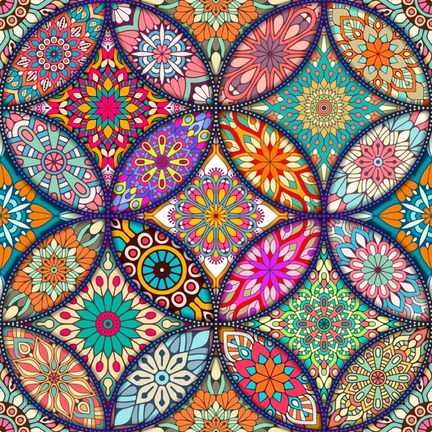 colorful background with different mandalas vector free
