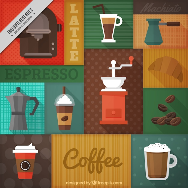 Colorful background with different types of\ coffee and coffee makers
