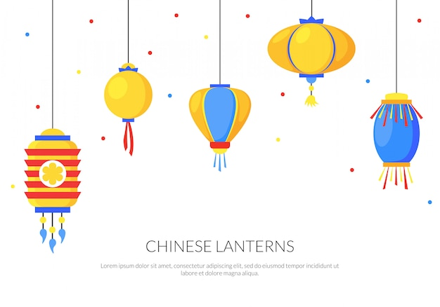 Colorful background with flat paper street chinese lanterns Premium Vector
