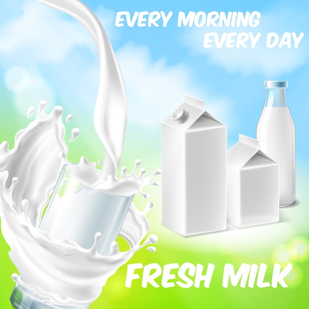 Colorful background with fresh milk, pouring in drinking glass and splashing Free Vector