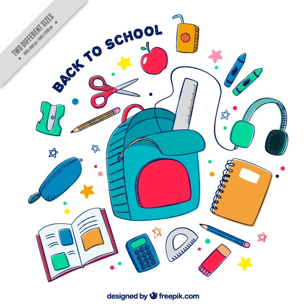 Colorful background with hand drawn school supplies Free Vector
