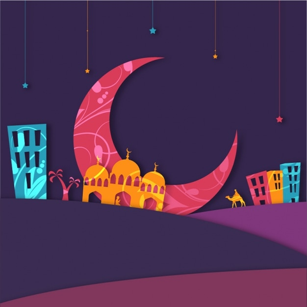 Colorful background with mosque and moon for eid mubarak