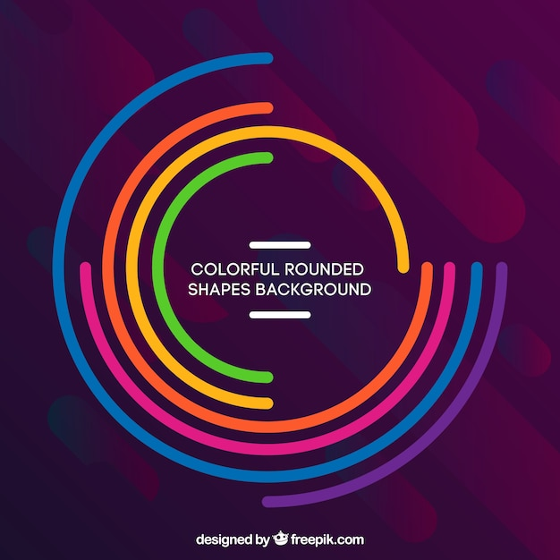 Colorful background with rounded shapes Free Vector