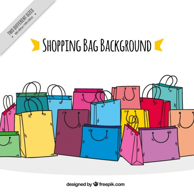 colorful background with shopping bags vector free download