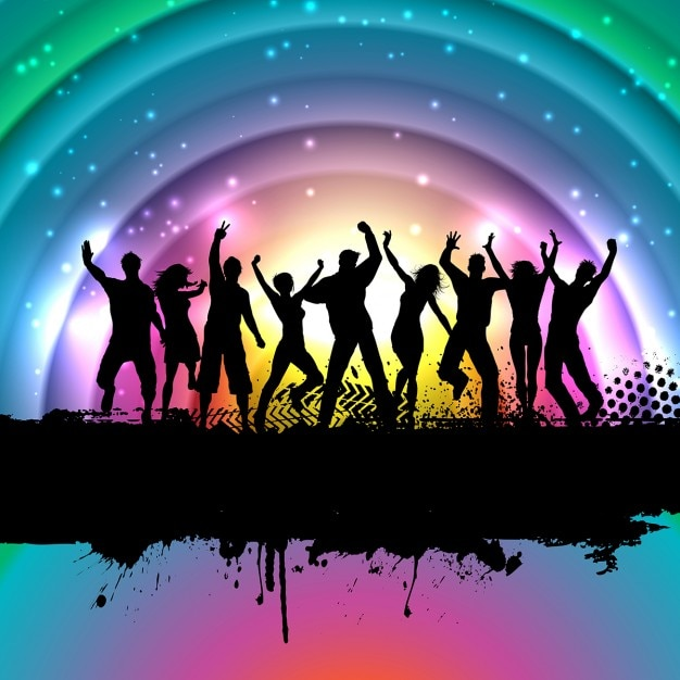 Colorful background with silhouettes of people\ dancing