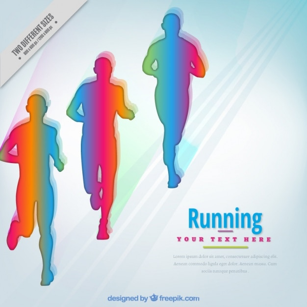 Colorful background with silhouettes\ running