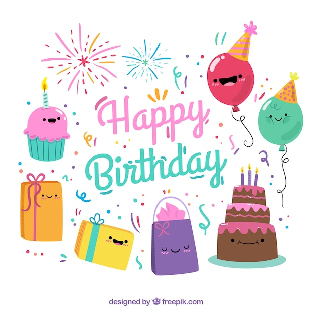 Colorful background with smiling birthday items Free Vector