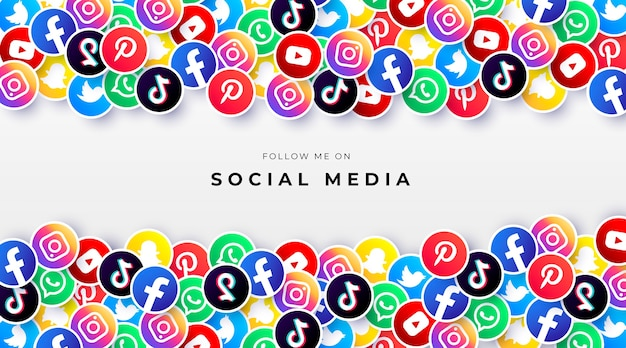 ソーシャルメディアのロゴとカラフルな背景 無料ベクター