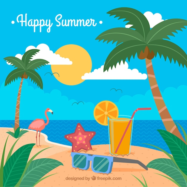 Красочный фон с летней сценой Бесплатные векторы