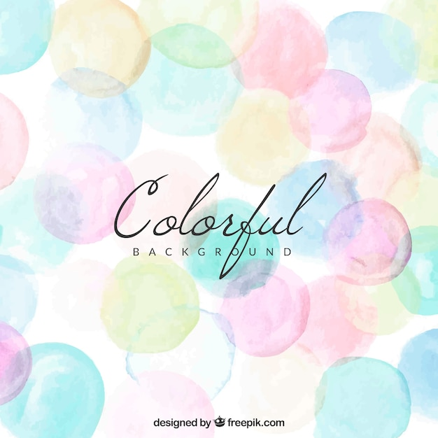 Colorful background with watercolor dots Free Vector