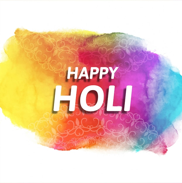 Colorful background with watercolor texture for holi festival