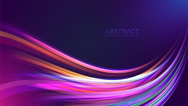 Красочный фон с волнистым следом неонового света Premium векторы