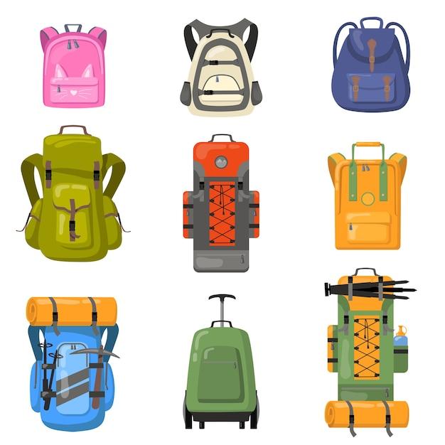 Набор красочных рюкзаки. сумки для школы, кемпинга, треккинга, альпинизма, походов. плоские векторные иллюстрации для туристического снаряжения, рюкзак, концепция багажа Бесплатные векторы