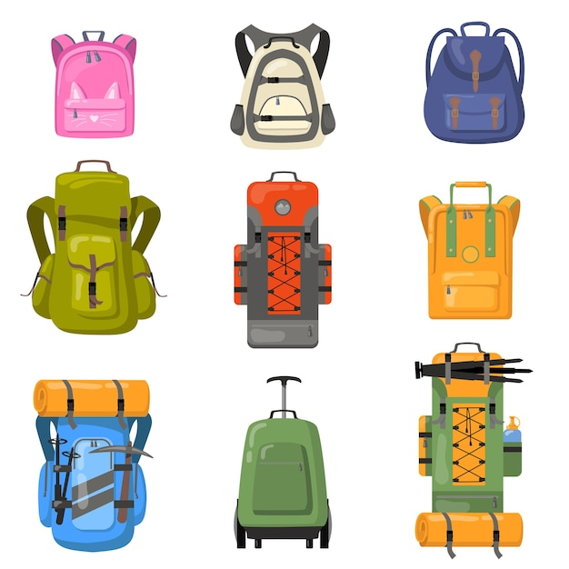 Colorful backpacks set. bags for school, camping, trekking, mountain climbing, hiking. flat vector illustrations for tourist equipment, rucksack, luggage concept Free Vector