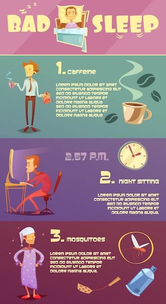 Colorful bad sleep infographics Free Vector