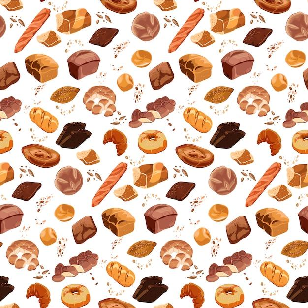 カラフルなベーカリー製品のシームレスパターン 無料ベクター